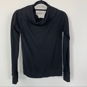 Pam & Gela Cowl Neck Black Ling Sleeve Top Size S